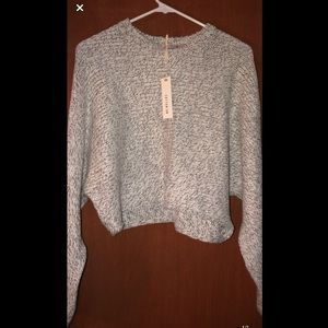 Grey batwing cropped sweater